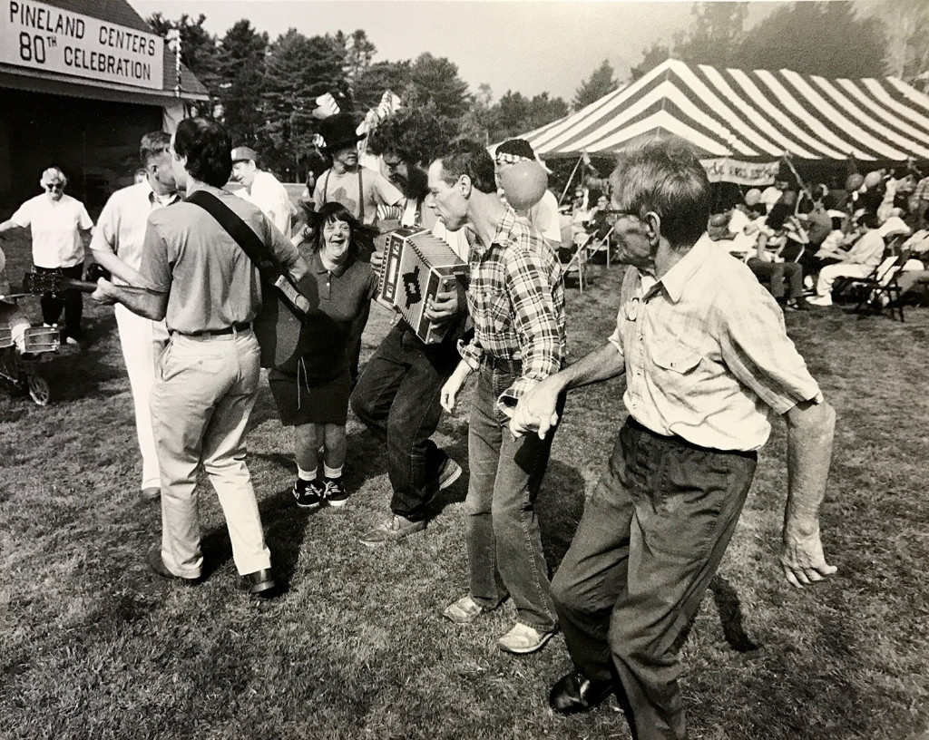 Residents of Pineland Center dance to the music of guest musicians Greg Boardman and Jeff McKeen in 1988 during the center's 80th anniversary celebration.