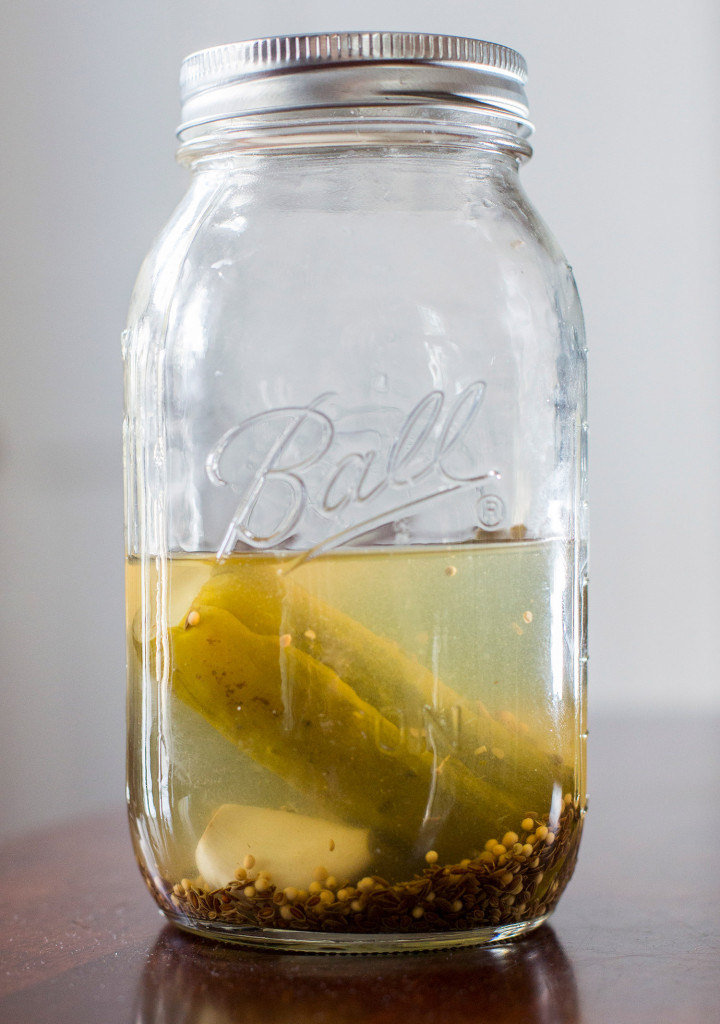 The recipe calls for 1¼ cups warm, strained pickle juice.