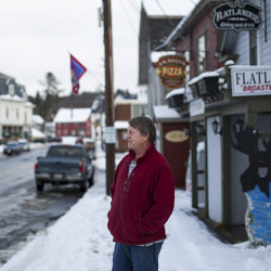 Raymond LeClair, an owner of Rod-N-Reel Cafe, on Pritham Avenue in downtown Greenville. LeClair closes up the cafe during the winter months and thinks that if the ski area reopened it would be much better for the businesses in town.