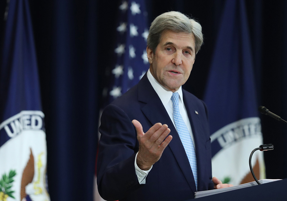 Secretary of State John Kerry speaks about Israeli-Palestinian policy at the State Department on Wednesday.