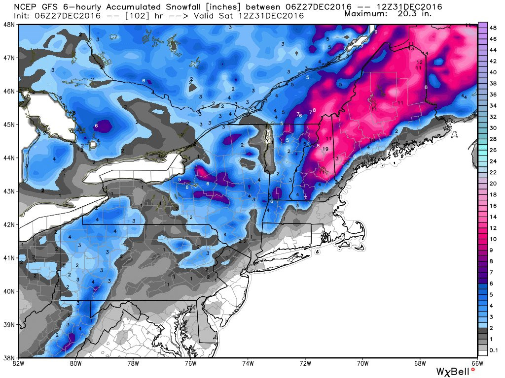 Significant snow is expected for Maine Thursday and Friday. Image courtesy of weatherbell.com