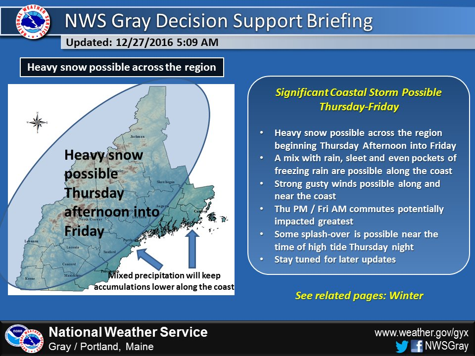 Heavy snow is expected to begin Thursday afternoon. Image courtesy of National Weather Service