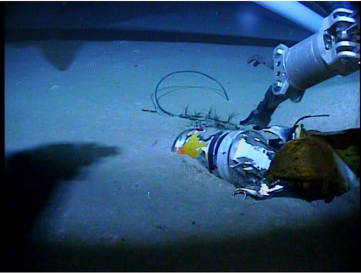 The El Faro's video data recorder on the sea floor. The image was taken during the third recovery mission.