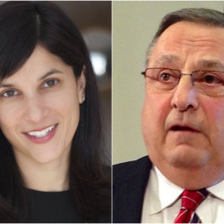 House speaker Sarah Gideon and Gov. Paul LePage.
