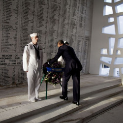 President Barack Obama lays a wreath at the USS Arizona Memorial, part of the World War II Valor in the Pacific National Monument in Pearl Harbor, Hawaii, in 2011. Assoicated Press/Carolyn Kaste