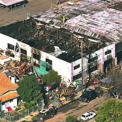 Image from video provided by KGO-TV shows the Ghost Ship Warehouse after the fire. Via AP