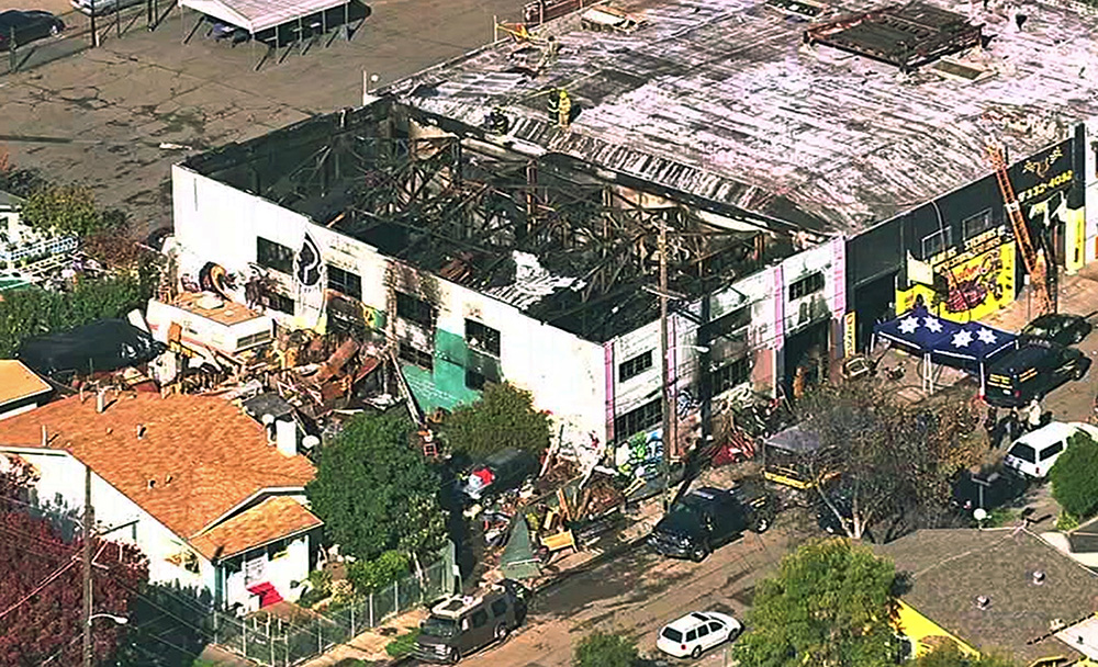This image from video provided by KGO-TV shows the Ghost Ship Warehouse after the fire. Via AP