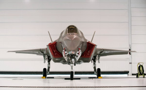 A U.S. Marine F-35B Joint Strike Fighter Jet sits in a hangar after the roll-out ceremony at Eglin Air Force Base in Florida on Feb. 24, 2012. The B model of the new single-engine, supersonic fighter jet can take off from shorter runways and can hover and land like a helicopter. Reuters/Michael Spooneybarger