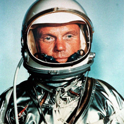 Senator John H. Glenn, 76, the world's oldest astronaut during an October 1962 mission on Discovery, was the first American to orbit the Earth 36-years-ago.