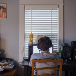 Byrne plays video games at his family's home. Now, he limits the amount of hours he's allowed to play each day.   Photo for The Washington Post by Mark Abramson