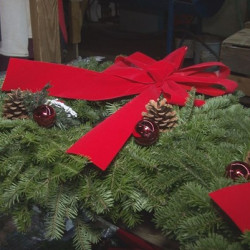 More than 200 wreaths like this one were stolen from Gile's Family Farm in Alfred.