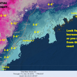Notice how quickly snowfall amounts increase as you move west from the coastline.
