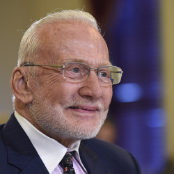 Buzz Aldrin, former NASA Astronaut and Apollo 11 Pilot, arrives on Capitol Hill in Washington, Tuesday, Feb. 24, 2015, to testify before the Senate subcommittee on Space, Science, and Competitiveness hearing on human exploration goals and commercial space competitiveness. (AP Photo/Susan Walsh)