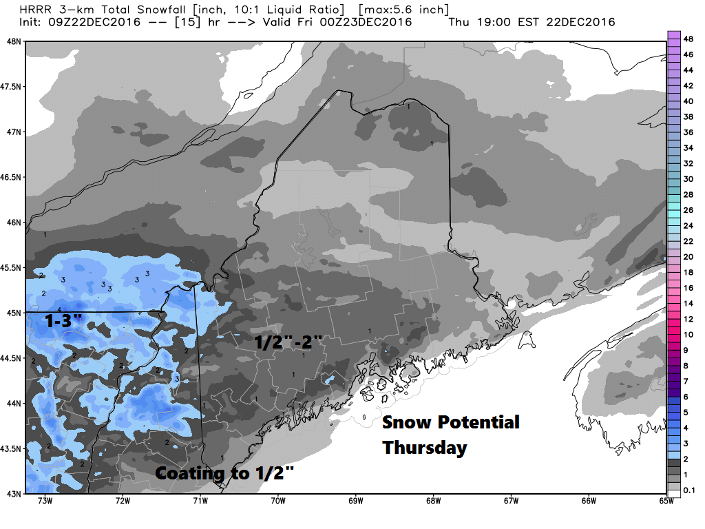 Light snow will fall the first part of today.