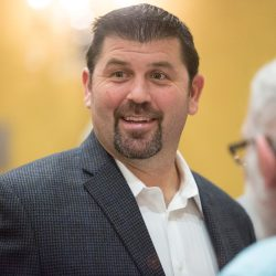 Jason Varitek greets fans – and there were plenty of them – at Friday night's event in South Portland.