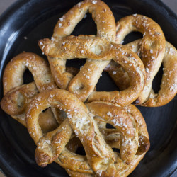 BRUNSWICK, ME - DECEMBER 20: Green Plate Special. What to do with leftover brine in the pickle jar. Make pretzels. )