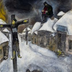 "Marc Chagall's ""Yellow Crucifixion,"" part of a new exhibit in Jerusalem, shows the suffering of Jewish Holocaust victims through the image of Jesus Christ as a Jew."