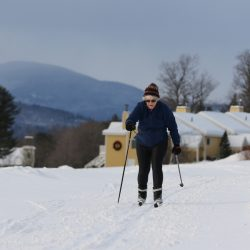 DECEMBER 30: BETHEL, ME - Bonnie Pooley skis at the Bethel Village Trails Center on Dec. 30, 2016 in Bethel, Maine. (Photo by Joel Page/Staff Photographer)