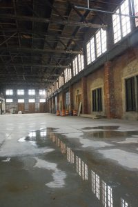 The Brick South space was once a locomotive engine repair building.