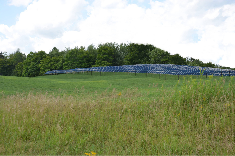 A simulation photo provided by Ranger Solar shows the location of a solar project underway in Vermont. The Yarmouth-based company is proposing new Maine solar projects in Fairfield and Clinton.