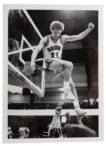 Brett Brown celebrates after Boston University qualifies for the NCAA Tournament his senior year, 1982, by winning the conference championship.