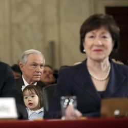 Sen. Jeff Sessions and Maine Sen. Susan Collins, a supporter, at his confirmation hearing in Washington on Tuesday.