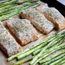 A sheet-pan supper of salmon and asparagus.