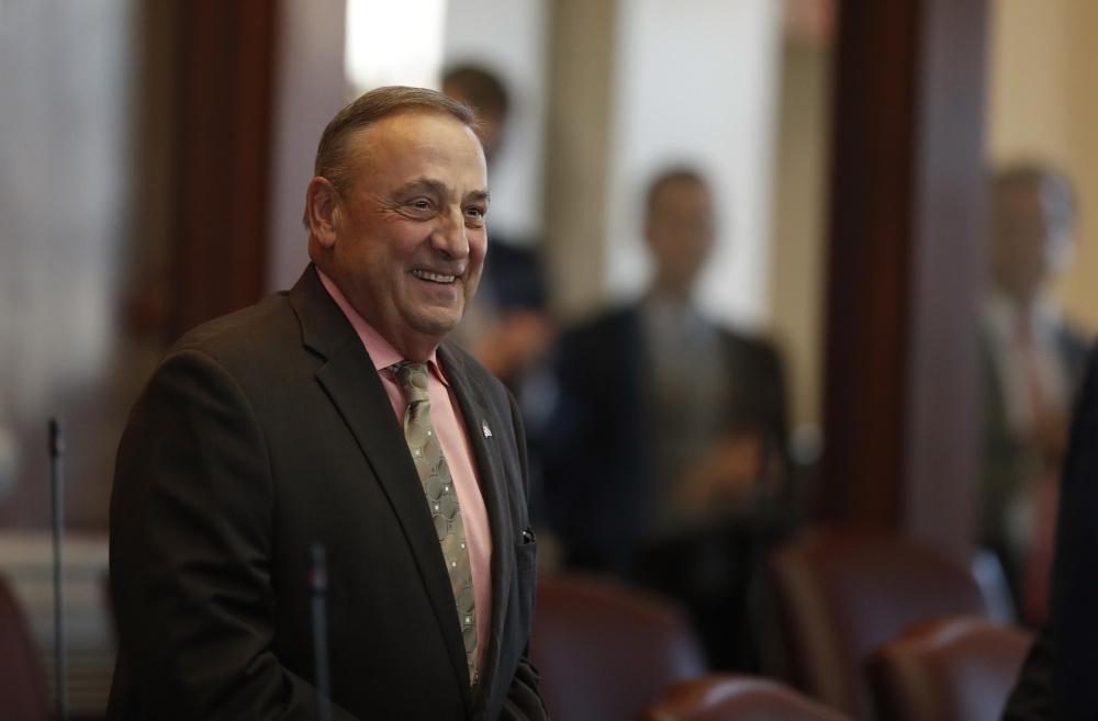 This Dec. 19 photo of Gov. Paul LePage at the State House shows a slimmed-down chief executive. He underwent bariatric surgery in September.