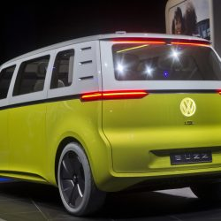 A few automakers are banking on nostalgia to sell future models, such as the Volkswagen ID Buzz, above, an all-electric concept van based on the iconic 1960s minibus. Ford's Bronco SUV is returning, and so is Jeep's wood grain-sided Wagoneer.