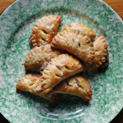 Mushroom turnovers with cream cheese pastry.