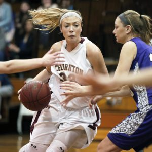 Alisha Aube of Thornton Academy looks to maneuver Thursday night during the 44-40 victory against Deering in a game between Class AA girls' basketball contenders.