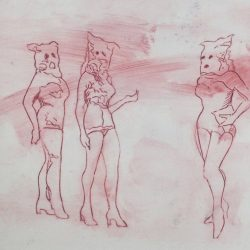 """A drawing by Deb Whitney, who also curated """"Lines of Thought."""""""