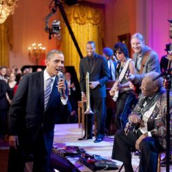"""President Obama joins in singing """"Sweet Home Chicago"""" during a concert in the East Room of the White House on Feb. 21, 2012. (White House photo by Pete Souza)"""