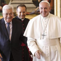 Pope Francis meets with Palestinian President Mahmoud Abbas at the Vatican on Saturday. Palestine inaugurated an embassy in Vatican City and the Pope called Jerusalem holy.