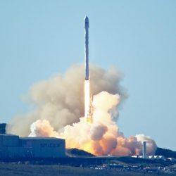 Space-X's Falcon 9 rocket with 10 satellites blasts off at Vandenberg Air Force Base in California on Saturday.