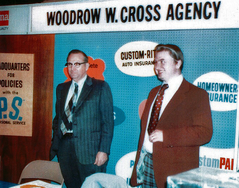 Above, Woodrow Cross, left, and his son Royce Cross man the insurance agency's booth at a trade show in the 1970s. Royce is now the president and CEO. At left, Woodrow Cross, 25, in 1942. He fought in World War II, earning two battle stars.