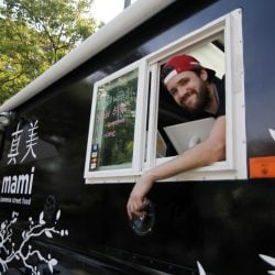 Austin Miller and his Mami food truck. Miller and Hana Tamaki plan to open a restaurant on Fore Street in Portland.