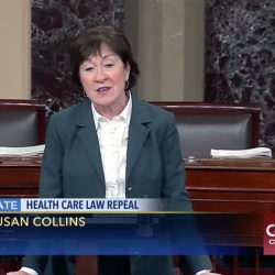 "Maine Sen. Susan Collins speaks on the Senate floor Tuesday about replacing the Affordable Care Act with a program that would allow states to maintain the status quo or choose other options to cover residents. ""If they (states) like the Affordable Care Act, they can keep the Affordable Care Act,"" she said."