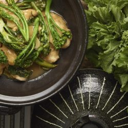 Broccoli rabe with Chinese take-out chicken.