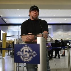 Former Houston Astros first baseman Jeff Bagwell speaks to reporters Wednesday after his election to baseball's Hall of Fame was announced.