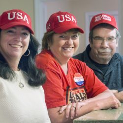 Campaign volunteers traveling to the inauguration include, from left, Sheila Conway, Nancy Ganem-Bond and Brad Littlefield.