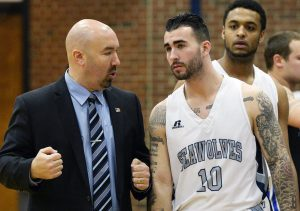SMCC basketball coach Matt Richards, left, says Michael Harmon had no direction in life four years ago. Now Richards has his life in order and exhibits calm on a successful team.