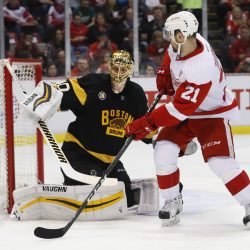 Bruins goalie Tuukka Rask stops a shot by Detroit's Tomas Tatar in the first period Wednesday night in Detroit.