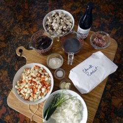 The ingredients for Beef and Ale Pie
