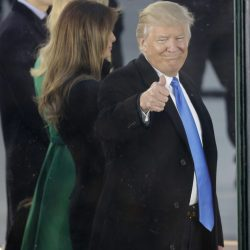 "President-elect Donald Trump and his wife Melania Trump appear at a pre-Inaugural ""Make America Great Again! Welcome Celebration"" at the Lincoln Memorial in Washington, Thursday, Jan. 19, 2017. (AP Photo/David J. Phillip)"