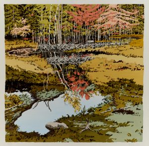 """New Dams in Meadow,"" woodcut 1984"