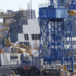 Dirk Lesko, the chief executive at Bath Iron Works, said that the yard has to stay vigilant about controlling costs, but he believes BIW has a good chance to capture more defense contracts to build Arleigh-Burke destroyers like the Rafael Peralta, above, seen last year. The shipyard, the fourth-largest private employer in Maine, would have hired another 1,000 workers if it had won a bid to build a fleet of new Coast Guard cutters awarded to a Florida competitor in September 2016. Gregory Rec/Staff Photographer