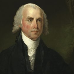 James Madison, seen in a portrait by Gilbert Stuart around 1821, reasoned that balances and shared power would produce stability.