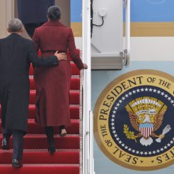 Former President Obama and his wife, Michelle, board an Air Force jet as they depart Andrews Air Force base on Friday.