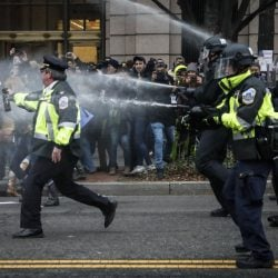 Police fire pepper spray on protesters after Donald Trump was sworn in as president on Friday. One police chief said flash-bang grenades were thrown by protesters.